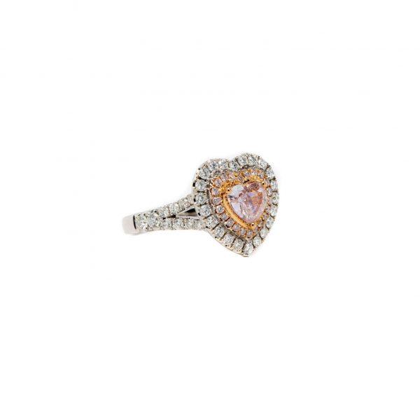 , Pink Diamond Heart Ring