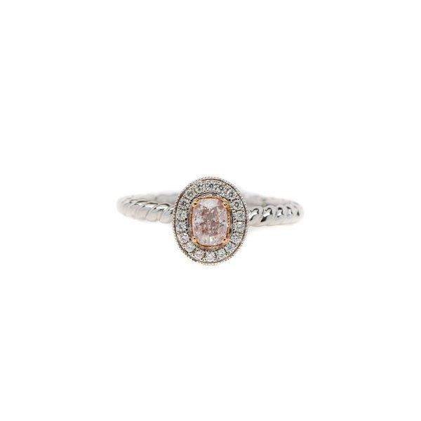 , Pink Diamond Halo Ring