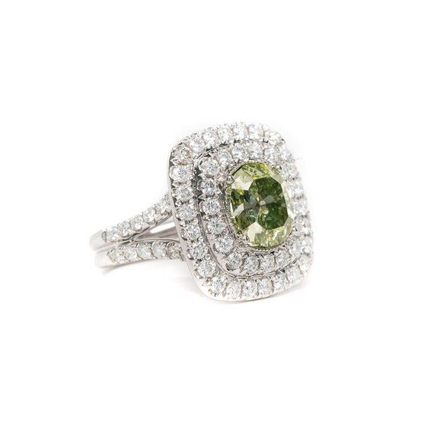 , GIA 3.52 Green Diamond Ring