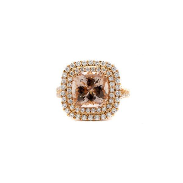 , Rose Gold Morganite + Diamond Ring