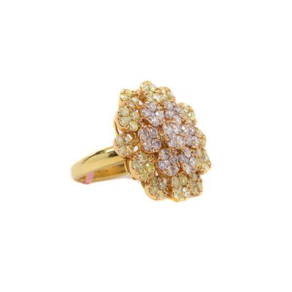 , Pink Diamond Flower Ring