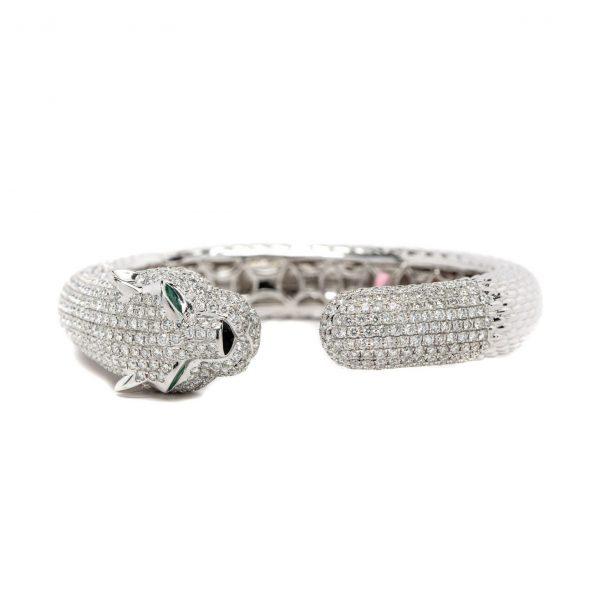 , Diamond + Emerald Panther Bracelet