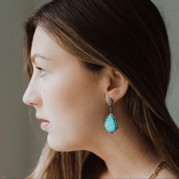 , Turquoise Tanzanite Earrings