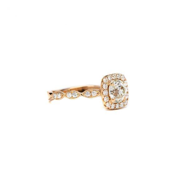 , Rose Gold Diamond Halo Ring
