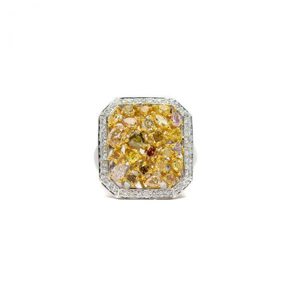 , Multi Color Diamond Cluster Ring