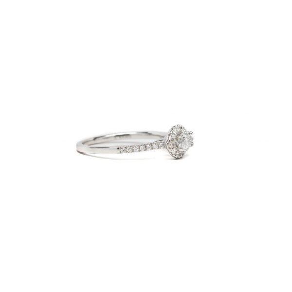 , Diamond Halo Engagement Ring