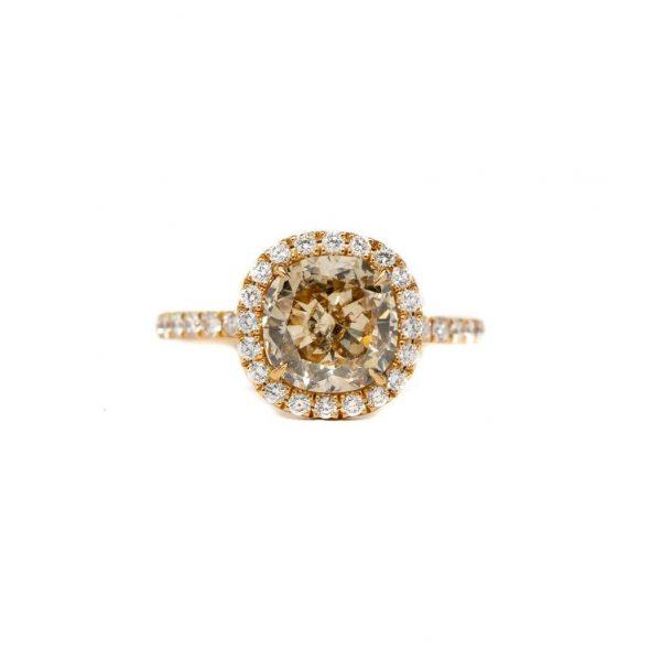 , GIA Diamond Halo Engagement Ring