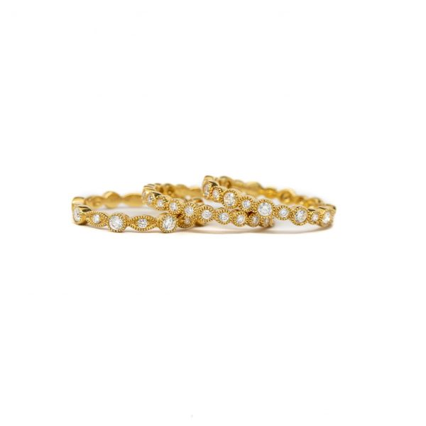 , 3 Stack of Yellow Gold Rings
