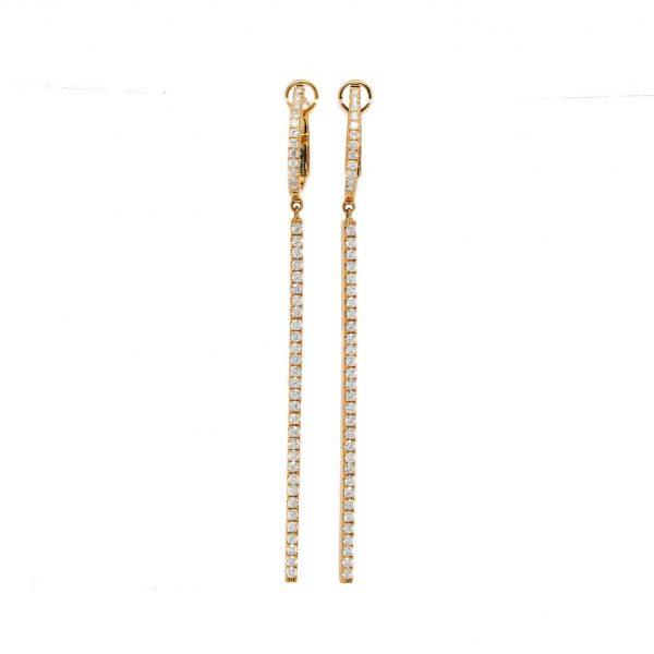 , Drop Huggie Earrings in Rose Gold