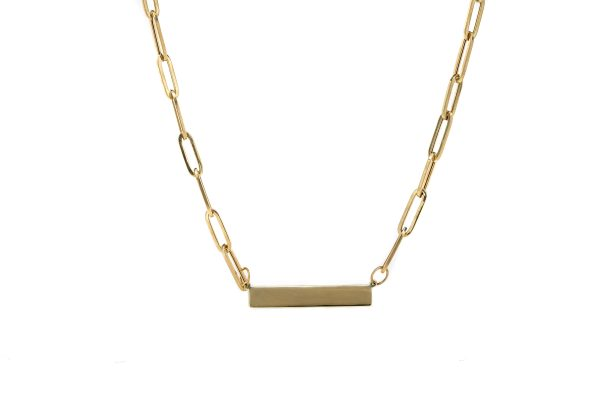 , 14KT Yellow Gold Bar Necklace