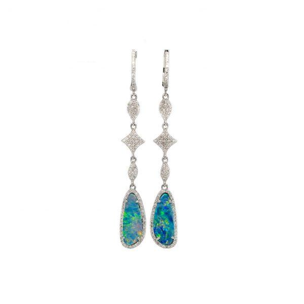 , Australian Opal + Diamond Dangle Earrings