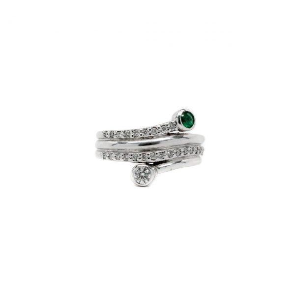, Diamond + Emerald Ring