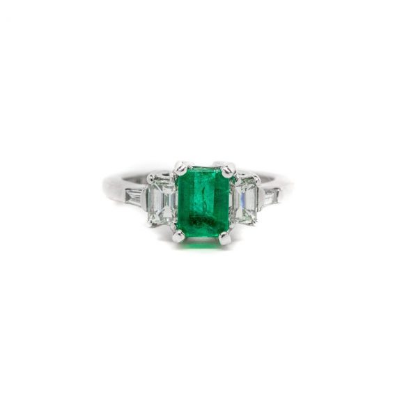 , Estate Emerald + Diamond Ring