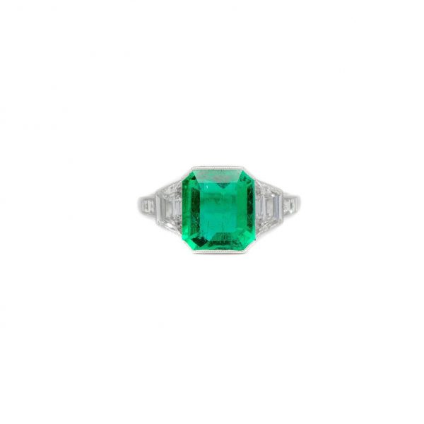 , Platinum Zambian Emerald + Diamond Ring