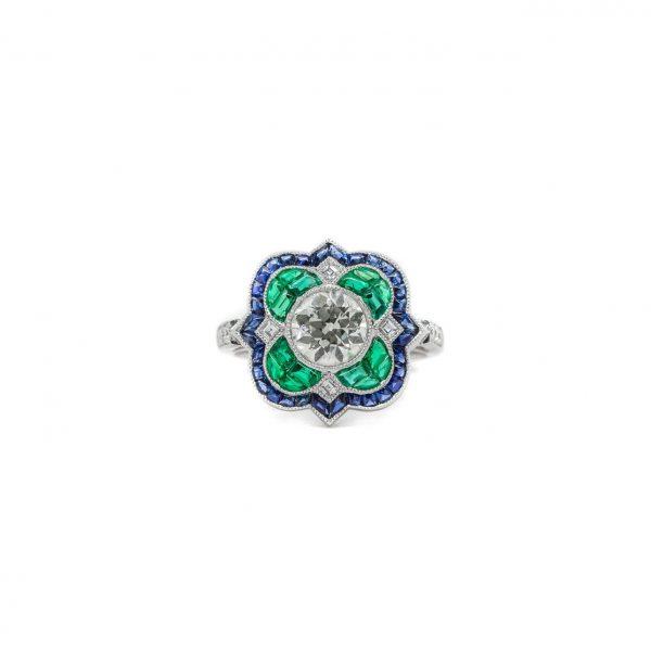 , Diamond Emerald and Sapphire Ring
