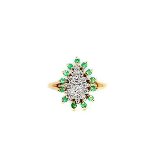 , Vintage Pear Shape Diamond + Emerald Ring