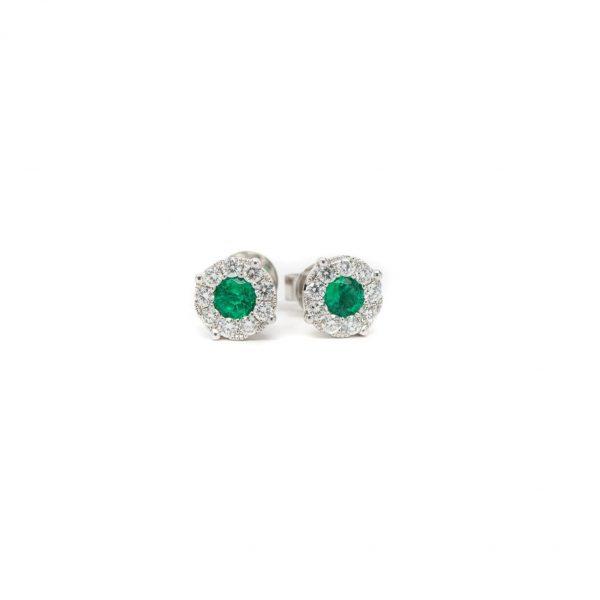 , Kashi Emerald Diamond Halo Studs