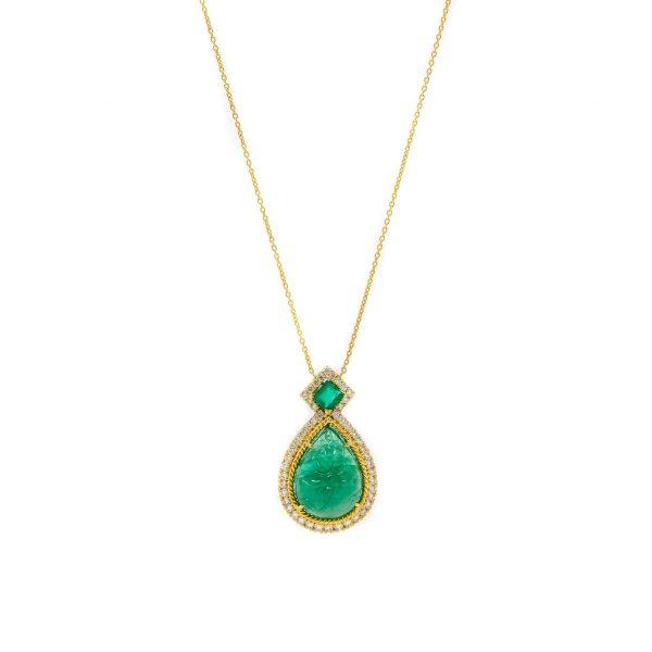 , Emerald + Diamond Pendant Necklace