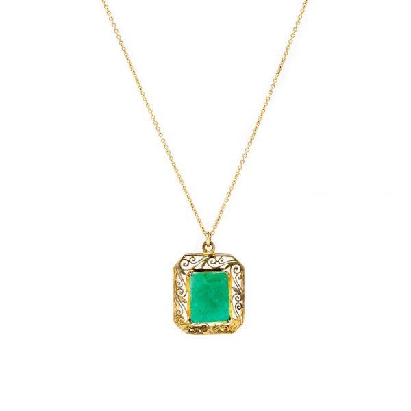 , Vintage Emerald Pendant Necklace