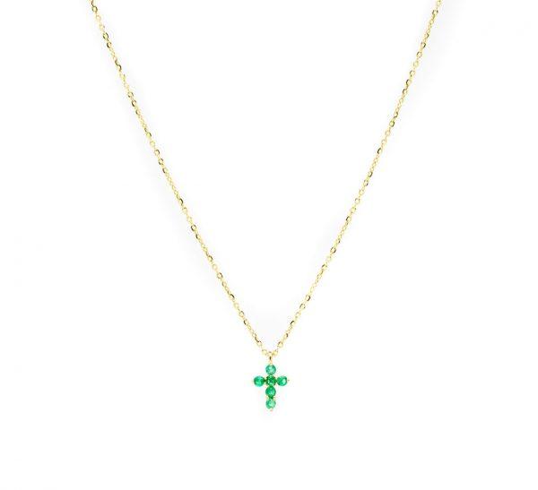 , Emerald Cross Necklace