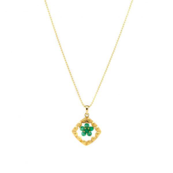 , Vintage Emerald Flower Pendant Necklace