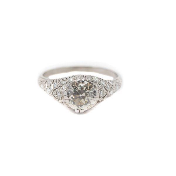 , Circa 1910 Vintage European Cut Engagement Ring