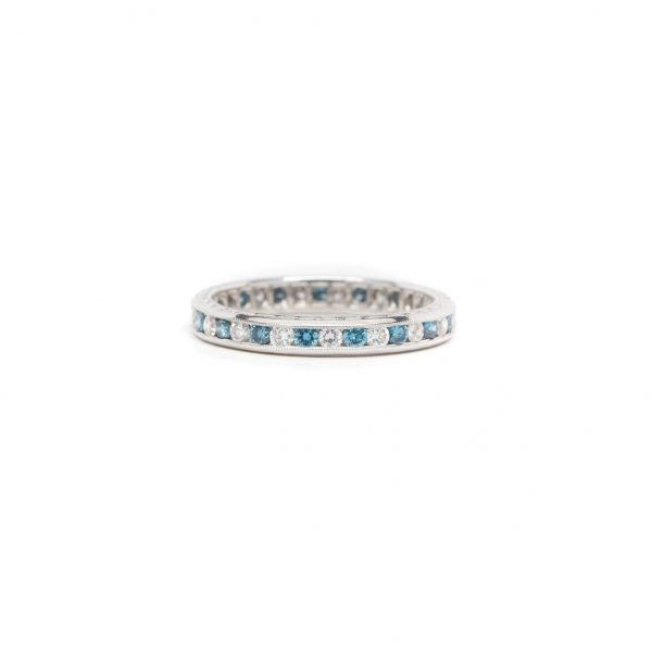 , Blue + White Diamond Eternity Band