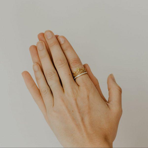 , Natural Yellow + White Diamond Crown Ring