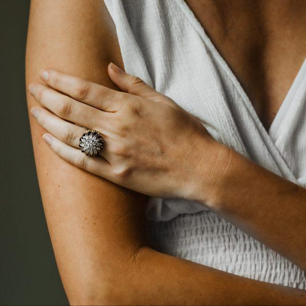 , Vintage Enamel + Diamond Ring