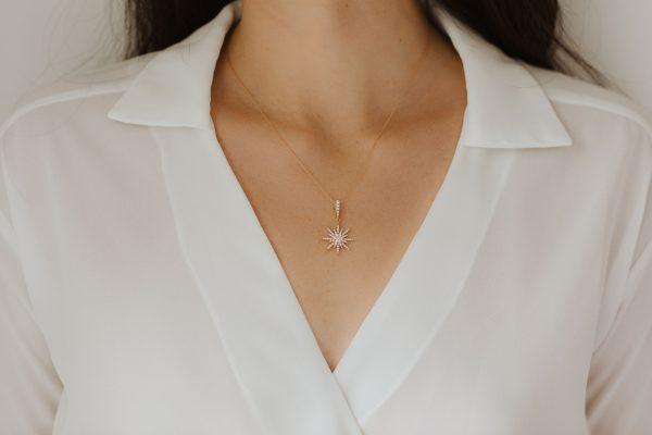 , Rose Gold Starburst Necklace