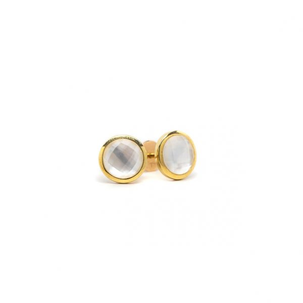 , Mother of Pearl + Colorless Topaz Round Studs