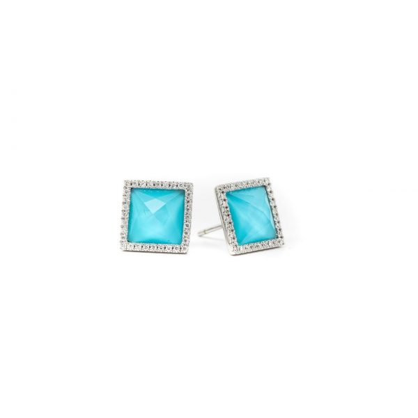 , Turquoise + Colorless Topaz Studs