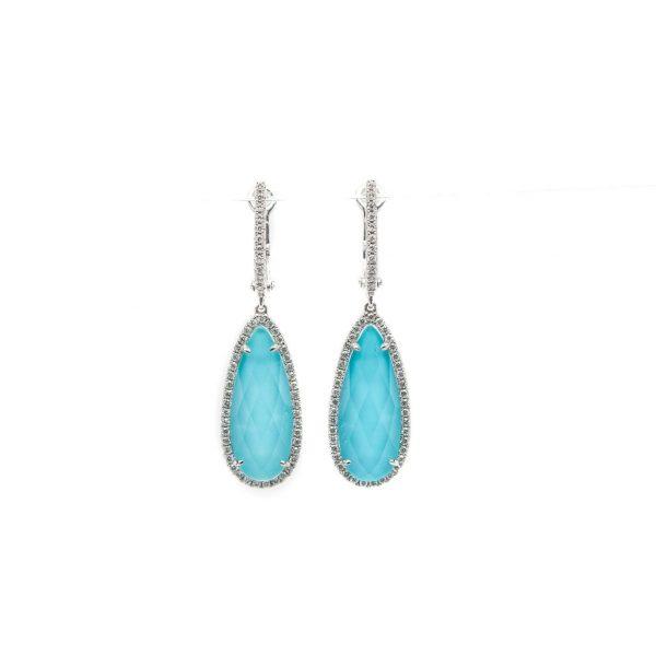 , Doves Turquoise + Clear Topaz Earrings