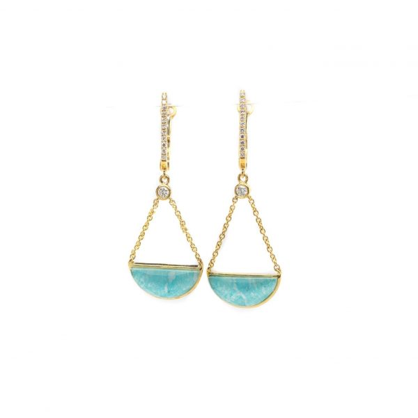 , Doves Half Moon Amazonite + Clear Topaz Earrings