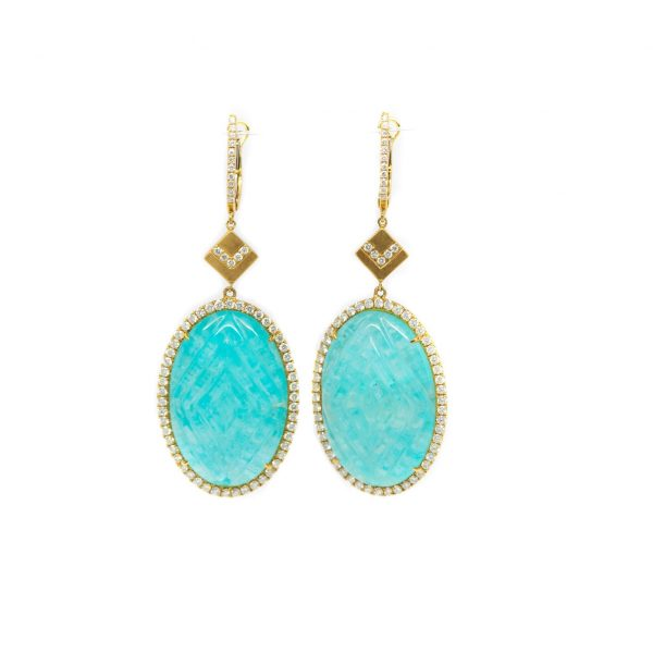, Doves Carved Amazonite Drop Earrings