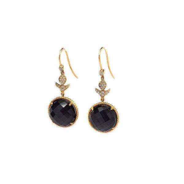 , Doves Amethyst + Diamond Drop Earrings