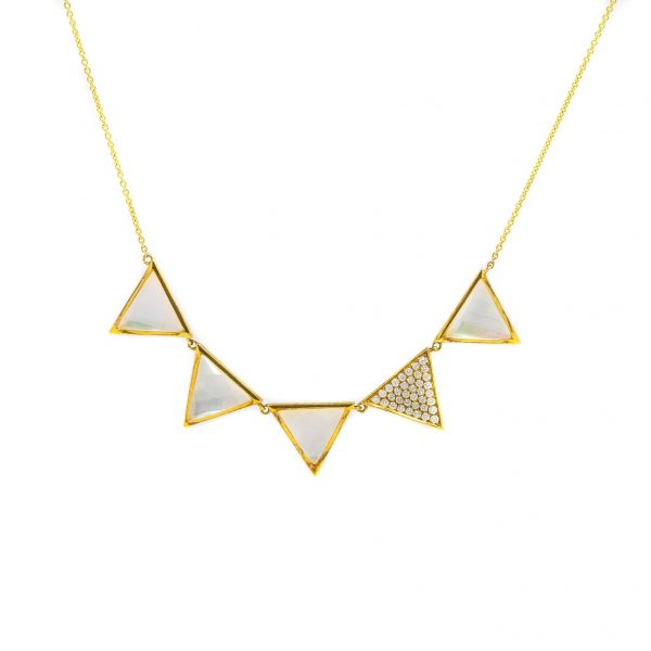 , Mother of Pearl + Diamond Triangle Necklace