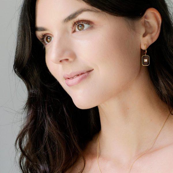 , Doves Onyx + Diamond Earrings