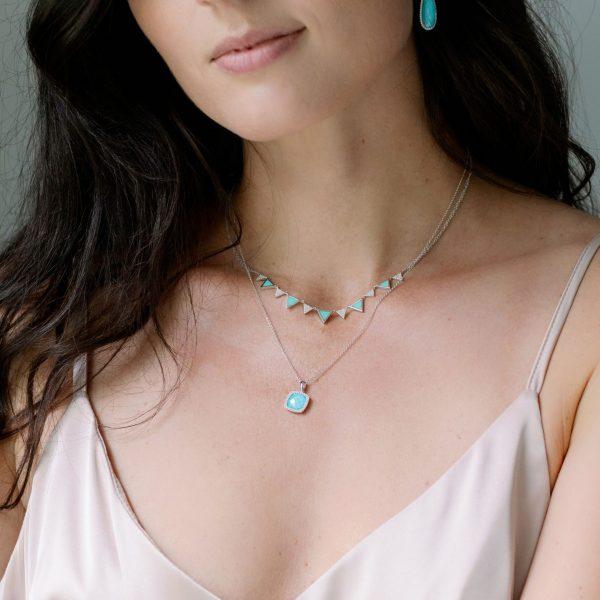, Turquoise + Clear Quartz Pendant Necklace
