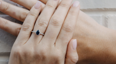 sapphire ring on model hand