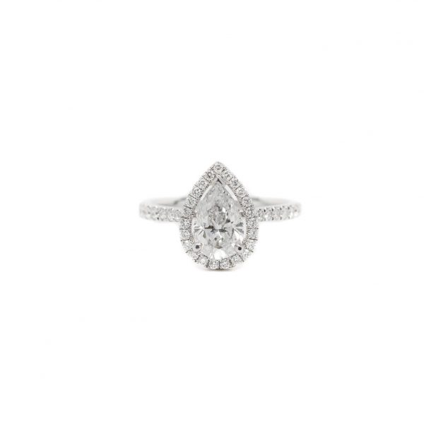 , 1.29 CT Pear Halo Engagement Ring