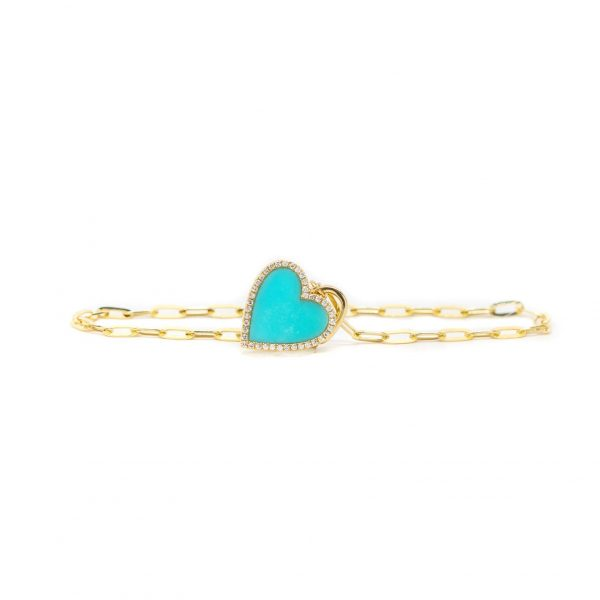 , Turquoise Heart Charm on Paperclip Bracelet