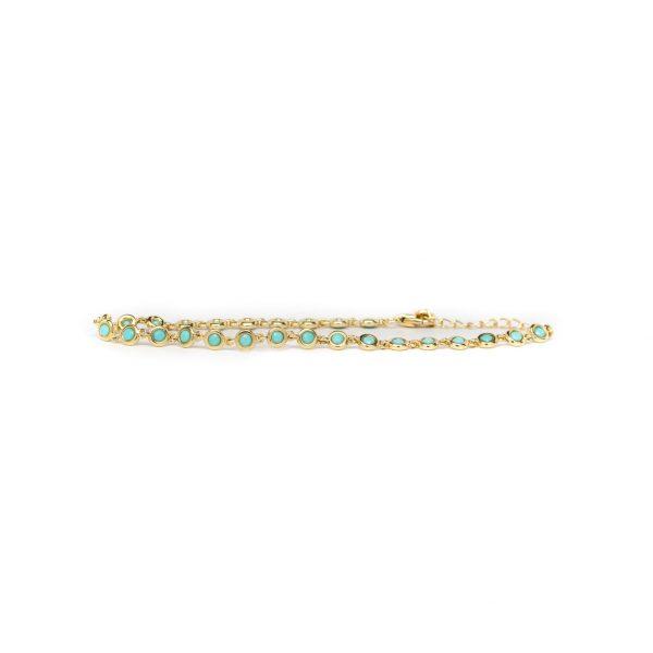, Turquoise Bezel Set Bracelet