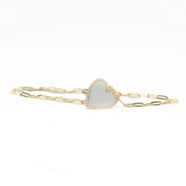 , Mother of Pearl Heart Charm on Paperclip Bracelet